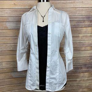 CAbi XS White Button Down Gathered Back Shirt